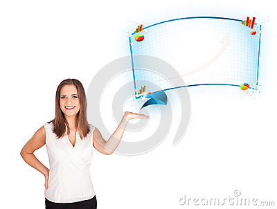 Young woman presenting abstract copy space with graphs and diagr