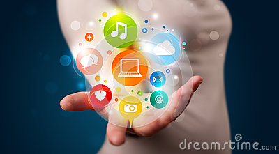 Young woman presenting colorful technology icons and symbols