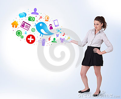 Young woman presenting colourful social i