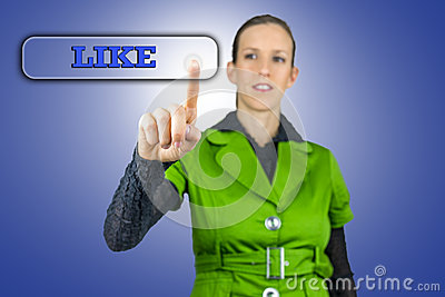 Young woman pressing Like button