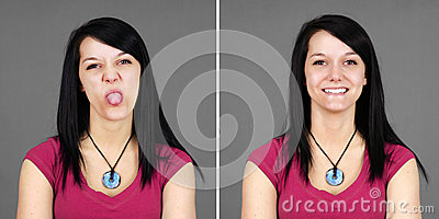 Young woman pulling tongue and smiling