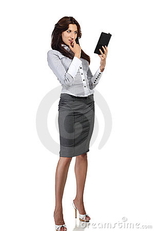 Young woman reading electronic book