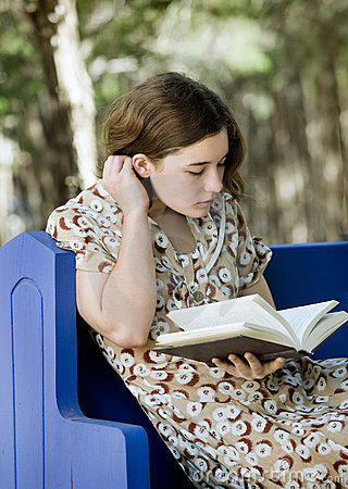 Young Woman Reading or Studying