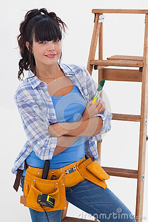 Young woman ready for home improvement
