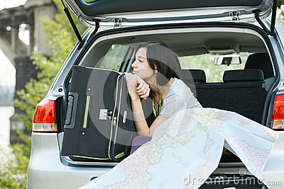 Young woman ready for road trip