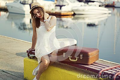 Young woman ready for sea cruise Stock Photo