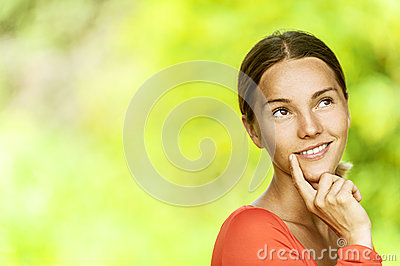 Young woman in red blouse close up