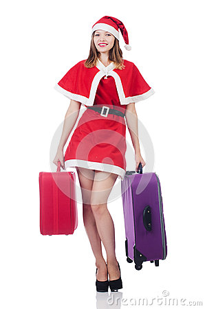 Young woman in red santa costume