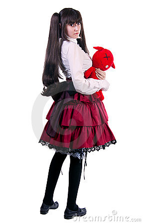 Young woman with a red  toy