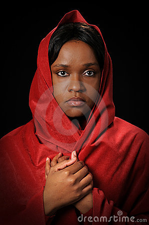 Young Woman with Red Veil