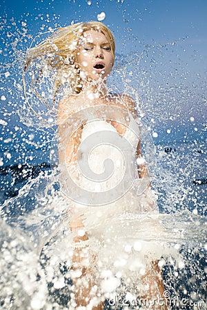 Young woman refreshing
