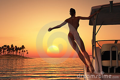 Young woman relaxing on a boat