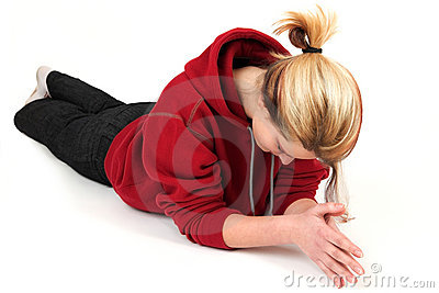 Young woman relaxing on floor