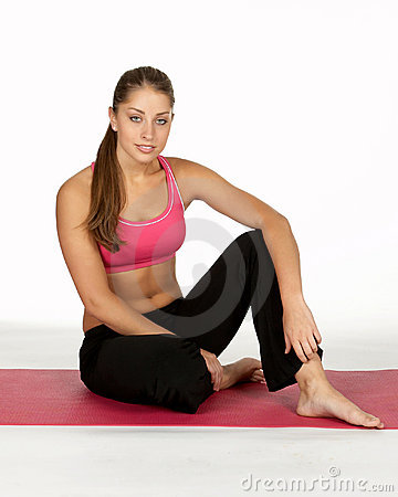 Young Woman Relaxing at Gym