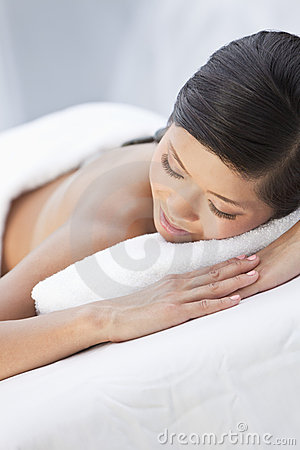 Young Woman Relaxing At Health Spa