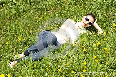 Young woman relaxing in nature