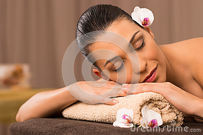 Young Woman Relaxing At Spa