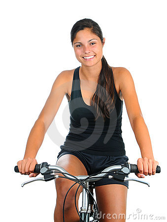 Young woman riding her bicycle