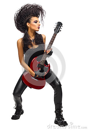 Free Young Woman Rock Musician Stock Photography - 77362522