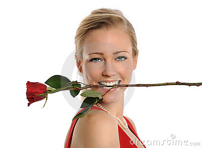 Young Woman With Rose in Mouth