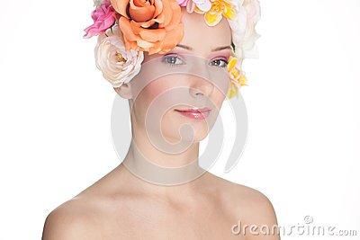 Young Woman with Roses on Head