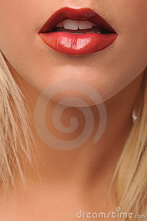 Young woman s lips close up