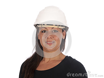 Young woman with safety helmet