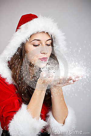 Young woman in santa cloth