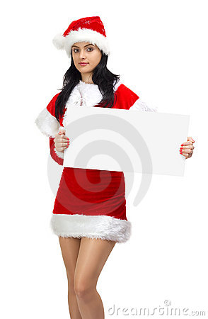 Young woman santa with empty board
