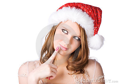 Young woman in santa hat portrait