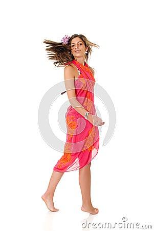 Young woman with sarong
