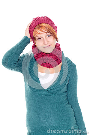 Young woman with scarf and cap