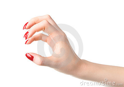 Young woman scratching handsign