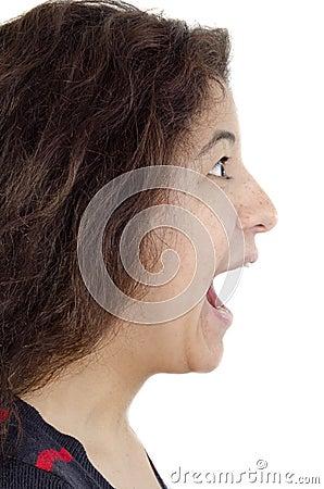 Young woman screams loud