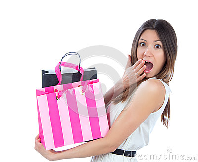 Young woman with shopping bags l shoppingand