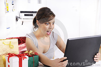 Young woman in shopping online