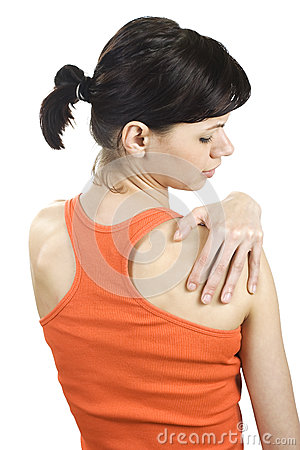 Young woman with shoulder pain.