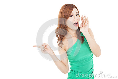 Young woman shouting and pointing