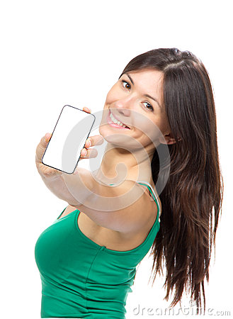 Young woman show display of mobile cell phone with black screen