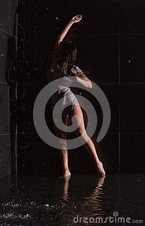 Young woman in shower