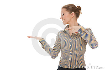 Young woman showing empty copy space for product