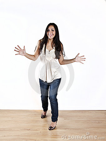 Young woman showing excitement