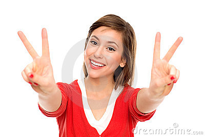 Young woman showing peace sign