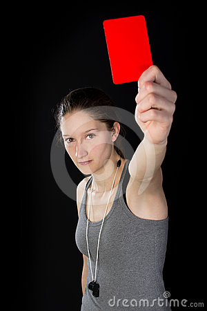Young woman showing red card
