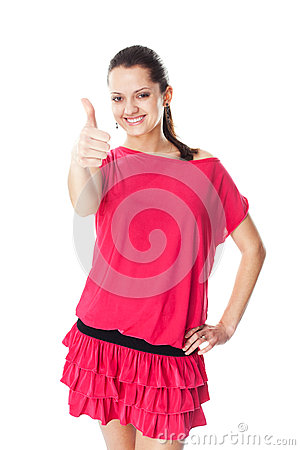 Young woman showing thumb up