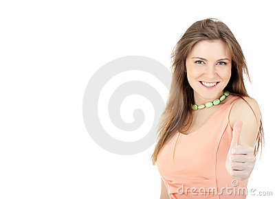 Young woman showing thumbs up sign