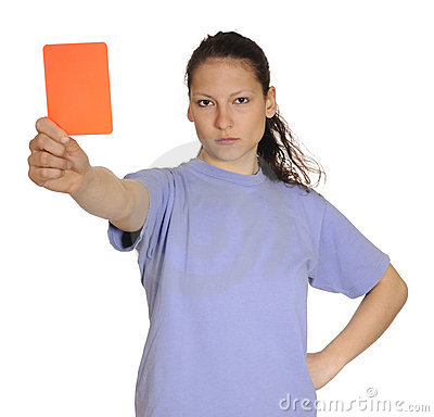 Young woman shows red card