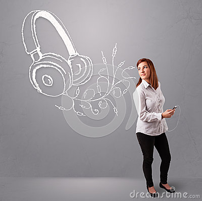 Young woman singing and listening to music with abstract headpho