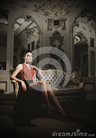 Free Young Woman Sit On Sofa At Ancient Room Royalty Free Stock Photography - 39253967