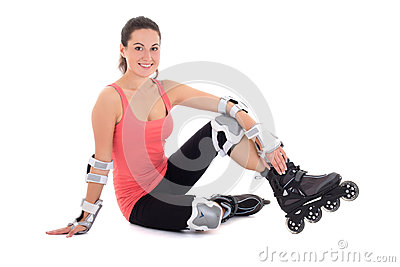 Young woman sitting with rollers on legs